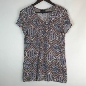 Geometric Tie neck Short Sleeve Size Large
